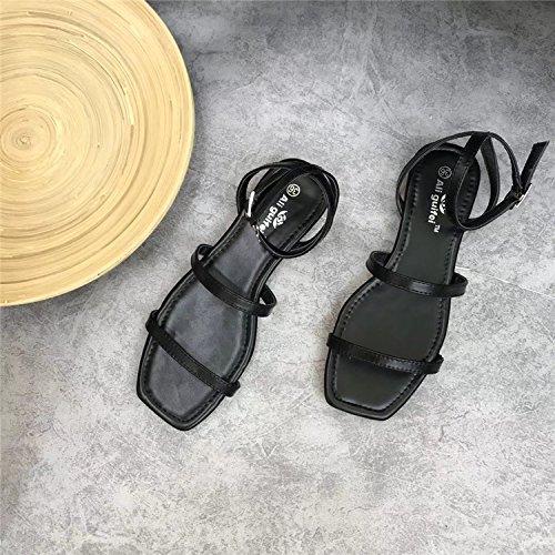 Nueva Version Coreana, Cabeza Cuadrada, La Impresion, Sandalias Planas, Sandalias, Suave Fondo Sandalias, Sandalias. black