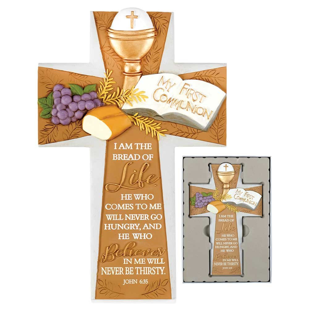 My First Communion Cross Gold Tone 6 x 9.5 Resin Stone Wall Sign Plaque