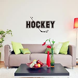 """BIBITIME Sport Fans Wall Decal Hockey Sayings Sticker Art Mural Home Decor Quote for Player Bedroom Living Room Background,32.59"""" x 17.51"""""""