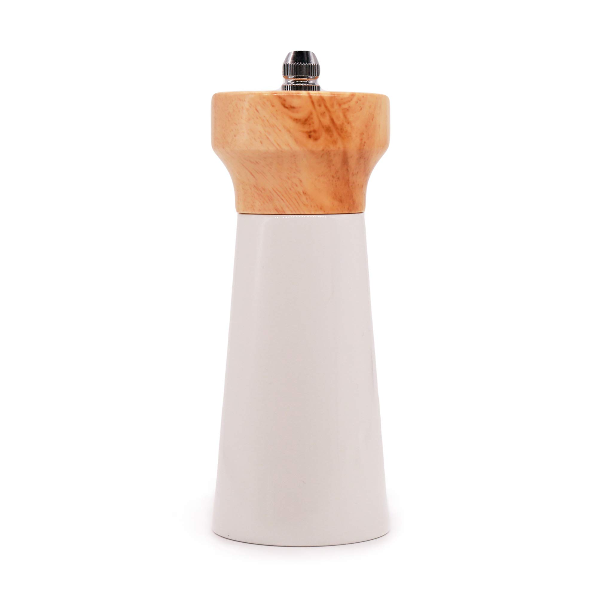 "Wooden Pepper Grinder Sea Salt and Pepper Shakers 5"" Manual Mills Effortless Shakers Lighthouse Shaped Blue & White by (5"", White) by Tessïe & Jessïe (Image #1)"