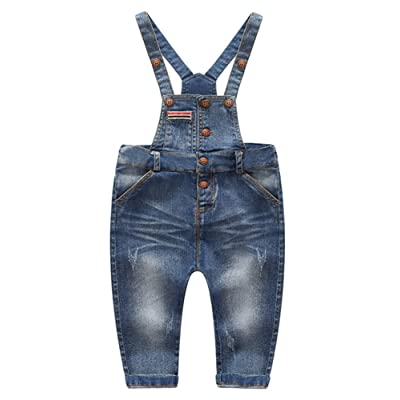Boy's Toddler Fall Front Button Down Denim Overall Jeans Jumpsuit with Pockets