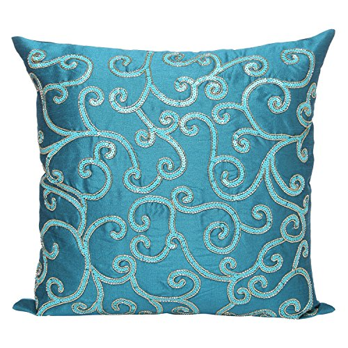 Light Teal Decorative Pillow Cover - Sequinned Light Teal Throw Pillow Cover In Swirl Pattern - Perfect for Home Décor & Gifts (Light Teal, 14X14 inches) By The White - Teal Petals