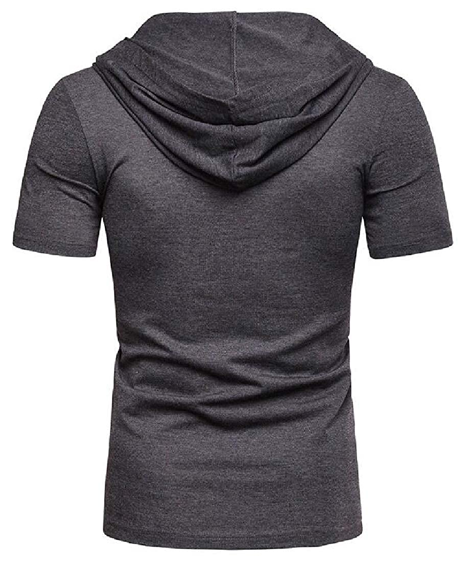 HANA+DORA Mens Casual Short Sleeve Slim Fit Cotton Shirt Lace-up Hooded T-Shirt