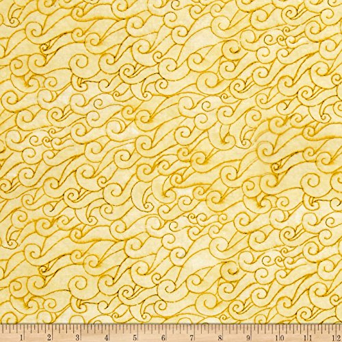 Quilting Treasures She Sews Sea Shells Wave Swirls Yellow Fabric By The Yard by Quilting Treasures