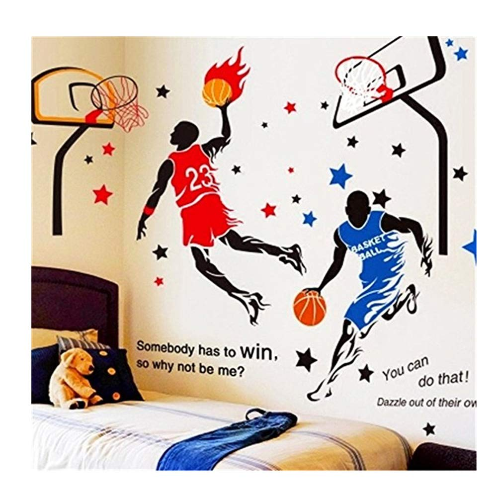 KeLay Fs 3D Basketball Wall Decals Sports Decals Basketball Stickers Wall Decor Basketball Player Wall Stickers for Boys Room Bedroom Decor (Blue2+Red) by KeLay Fs