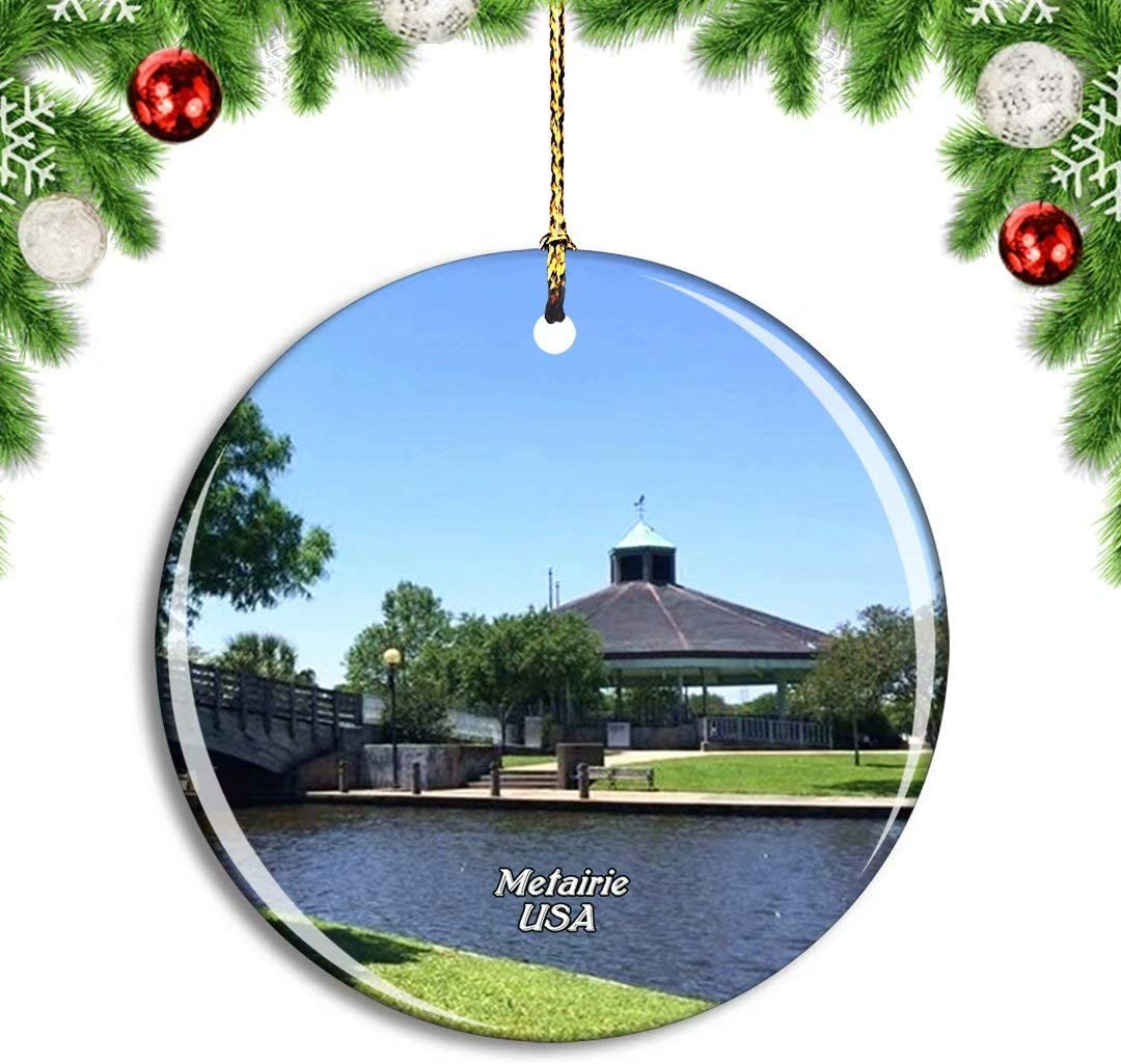 Weekino USA America Metairie Lafreniere Park Christmas Xmas Tree Ornament Decoration Hanging Pendant Decor City Travel Souvenir Collection Double Sided Porcelain 2.85 Inch