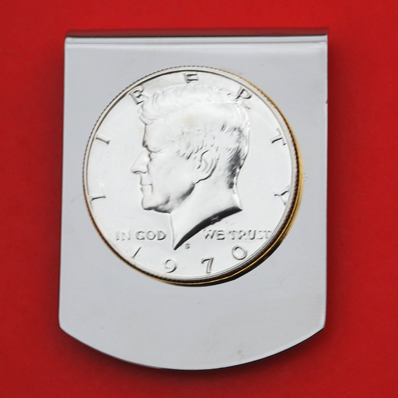 US 1970 Kennedy Half Dollar Gem BU Proof Uncirculated Coin Stainless Steel Two Tone Large Money Clip NEW - Wide Design