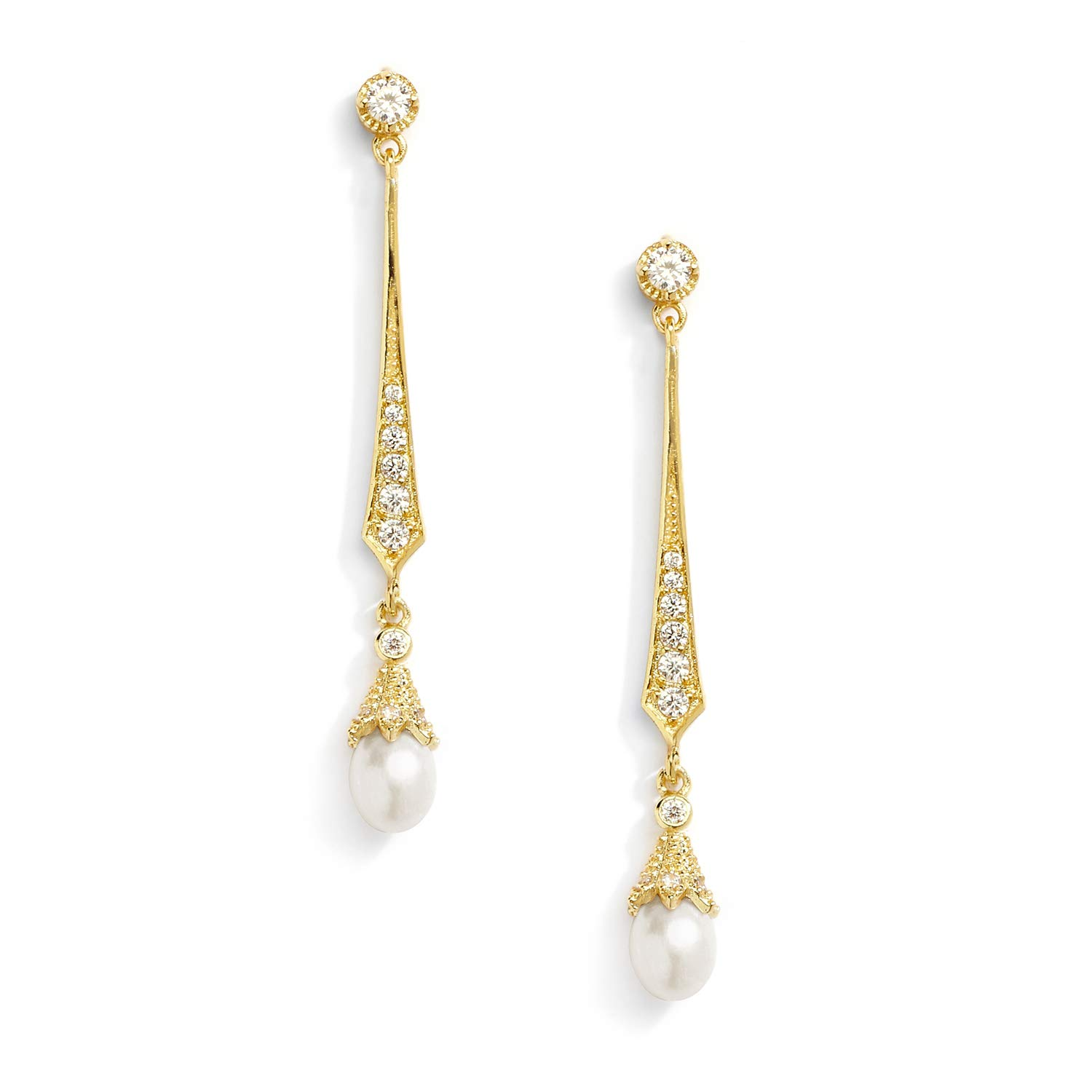 Mariell Slender 14K Gold CZ Vintage Dangle Earrings with Freshwater Pearl Drops - Bridal Wedding Style