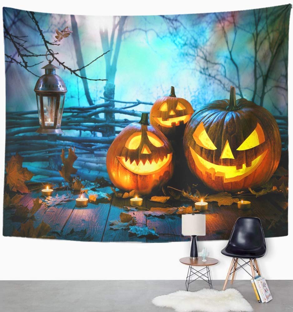 Emvency 60''x80'' Indian Tapestry Mandala Hippie Wall hangings Blue Fun Halloween Pumpkins On Wood in Front of Nightly Spooky Forest Orange Night Home Decor Tapestries for Bedroom by Emvency (Image #2)
