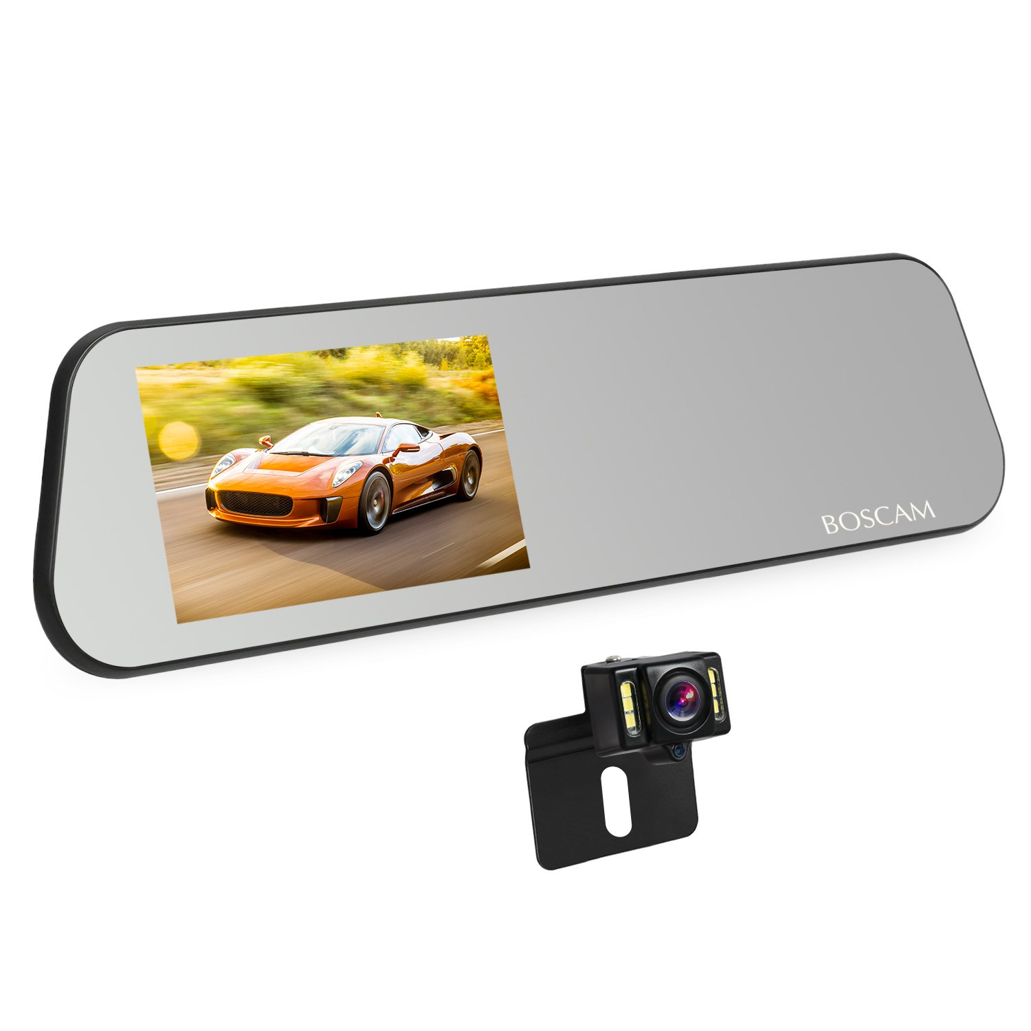 BOSCAM R1 Touch Screen Backup Camera Mirror Dash Cam Waterproof Back up Car Camera and 4.5-inch Full HD 1080P Rear View Mirror Cam Video Recorder with G-Sensor,Loop Recording, Motion Detection