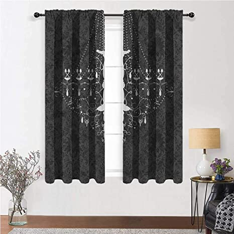 Amazon Com Youxianhome Vintage Bedroom Blackout Curtains Victorian Baroque Damask Rod Pocket Blackout Curtains 42 Inch X 72 Inch 2 Curtain Panels Home Kitchen