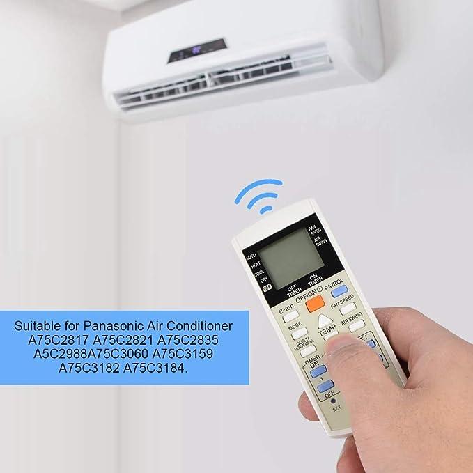 ASHATA Control Remoto//Mando a Distancia para Panasonic Aire Acondicionado A75C2817 A75C2821 A75C2835 A5C2988A75C3060 A75C3159 A75C3182 A75C3184.