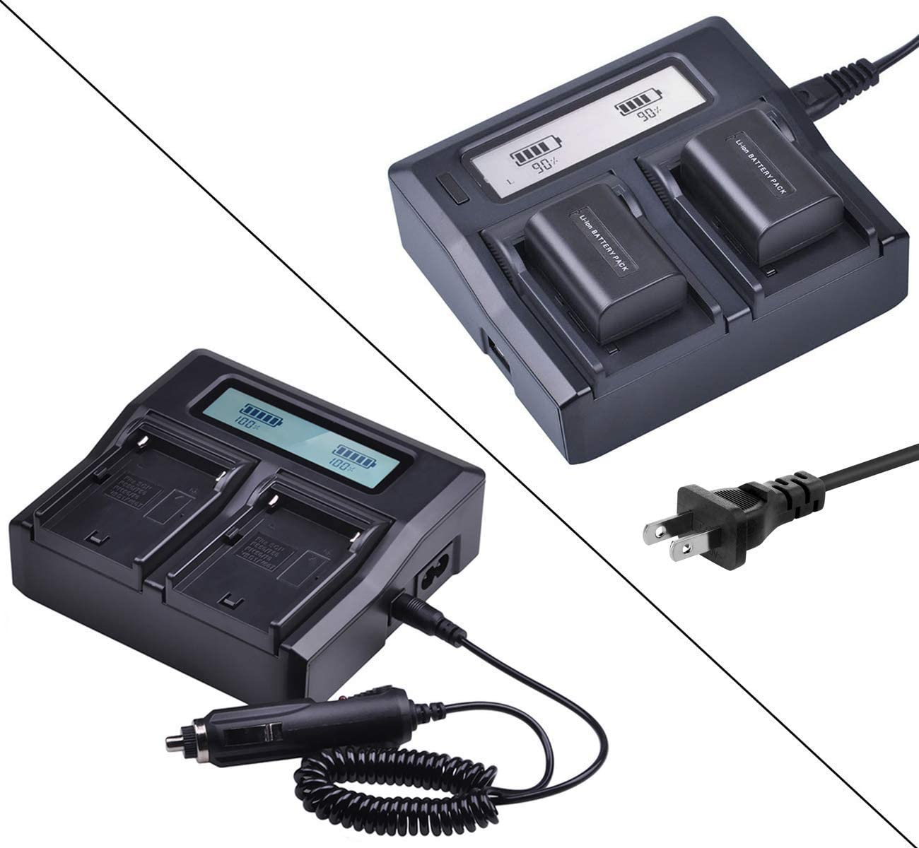 SDR-H20 LCD Dual Quick Battery Charger for Panasonic SDR-H18 SDR-H200 SDR-H280 Camcorder SDR-H250