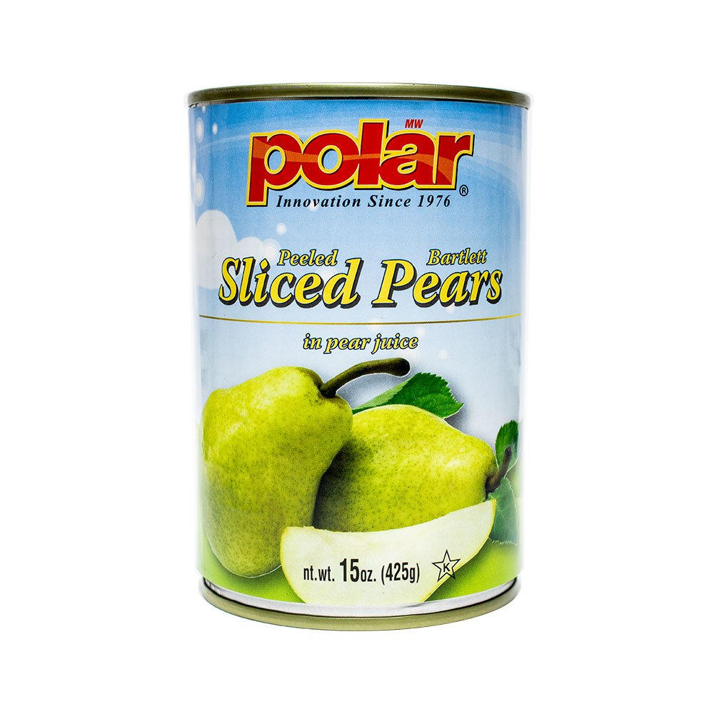 MW Polar Polar Bartlett Pear Slices in Natural Juices, 15 Ounce (Pack of 12)