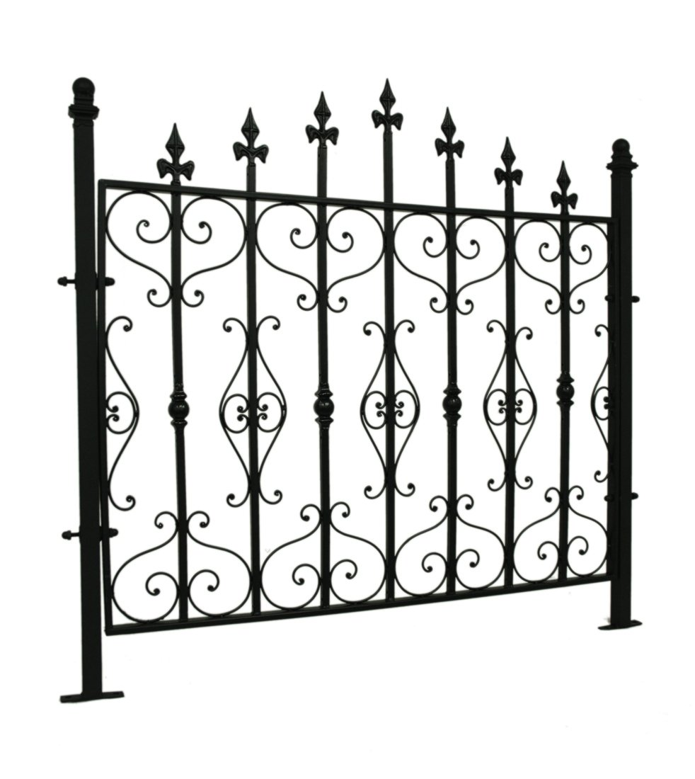 Metal Wall Sculptures Black Wrought Iron Style Gothic Metal Garden Fence Panel 42 X 41 X 1.75 Inches Black Model # UDXL141