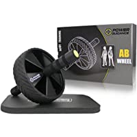 POWER GUIDANCE Ab Wheel Roller - - The Best Fitness Equipment For 6 Pack Abs & Core Workout - With Innovative Non-Slip Rubber, Extra Thick Knee Pad & Comfort Foam Grips