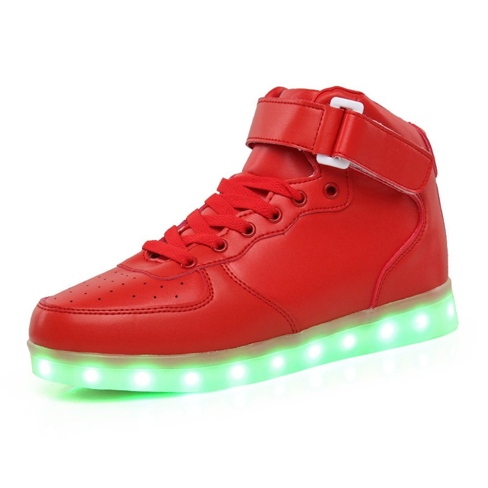 f69e41414d03 AnnabelZ LED Shoes Light Up Shoes High Top USB Charging Flashing Sneakers  Red (8 B(M) US Women   6.5 B(M) US Men)  Amazon.co.uk  Shoes   Bags