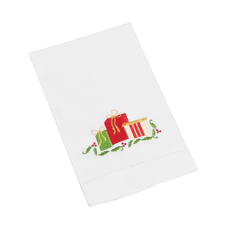 FENNCO estilos bordado y hemstitched servilletas de Navidad, 50,8 cm cuadrado, juego de 4, Gift box, 20x20: Amazon.es: Hogar