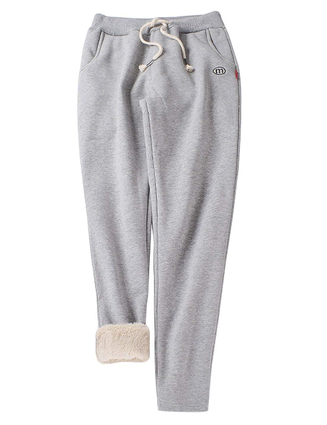 3  Light Grey (Tapered Leg) Gihuo Women's Winter Fleece Pants Sherpa Lined Sweatpants Active Running Jogger Pants
