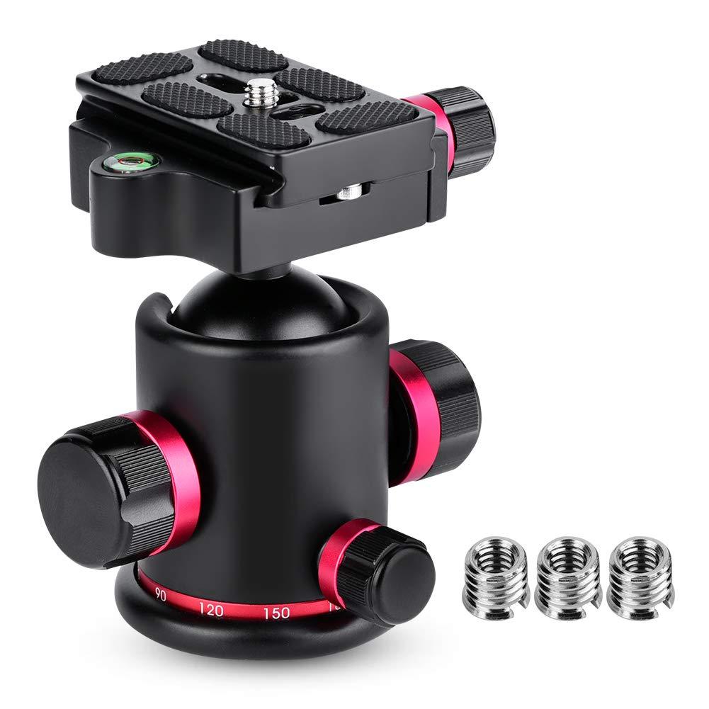 plaque /à d/égagement rapide avec trois boutons de verrouillage alliage daluminium avec rotule panoramique /à 360 /° red pour monopode pour appareil photo reflex Rotule de tr/épied