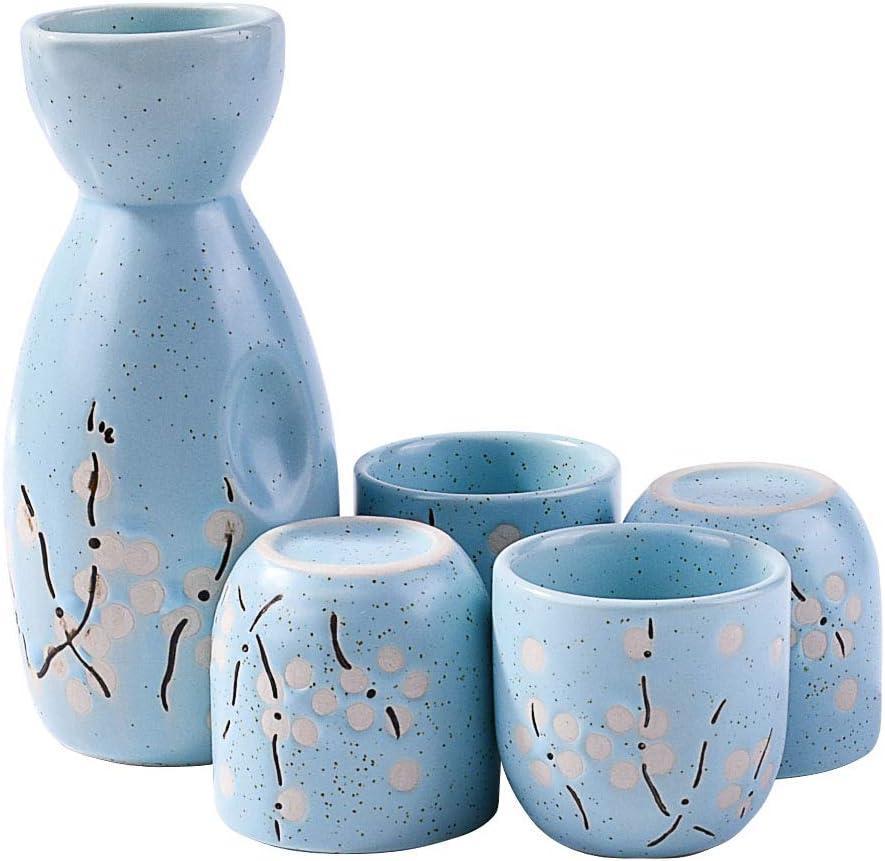 Japanese Sake set, 1 Sake Bottle and 4 Sake Cups for Wine Sake (Blue)