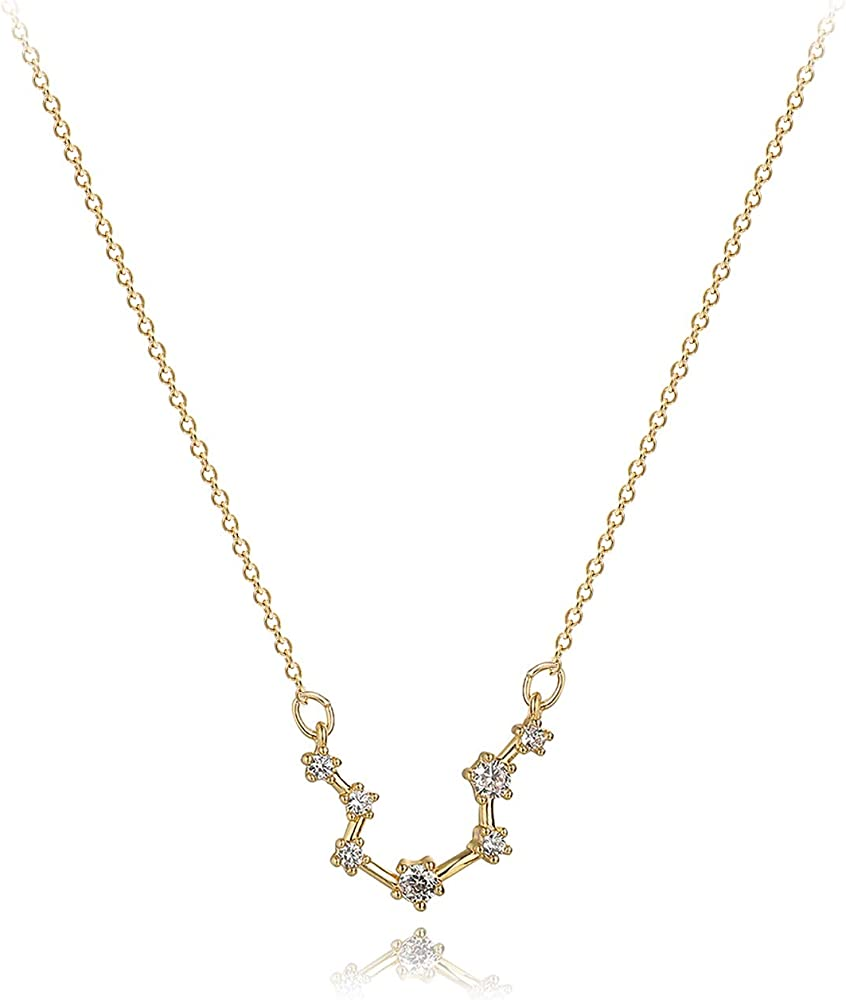 Custom necklace constellation stars astrological sign sign of the gold zodiac and zircon birthday gift for her
