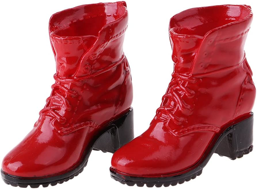 1//6 High Glossy Boots fit for 12inch Female Action Figure Fashion Accs Red