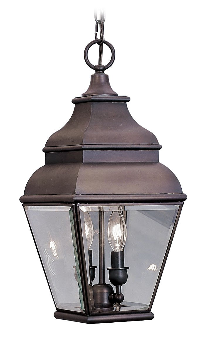 Livex Lighting 2595-07 Exeter 2 Light Outdoor Bronze Finish Solid Brass Hanging Lantern with Clear Beveled Glass