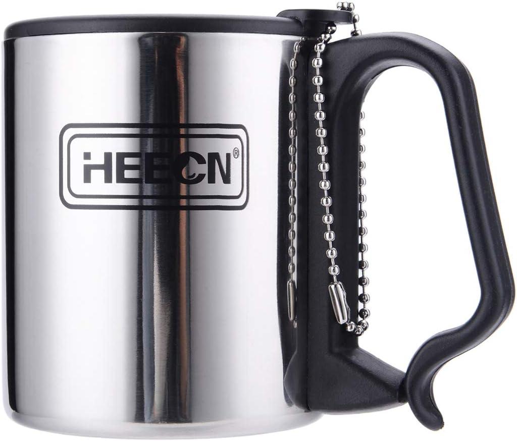 HEECN Tasse /à caf/é dext/érieur en Acier Inoxydable /à Double paroi avec couvercles
