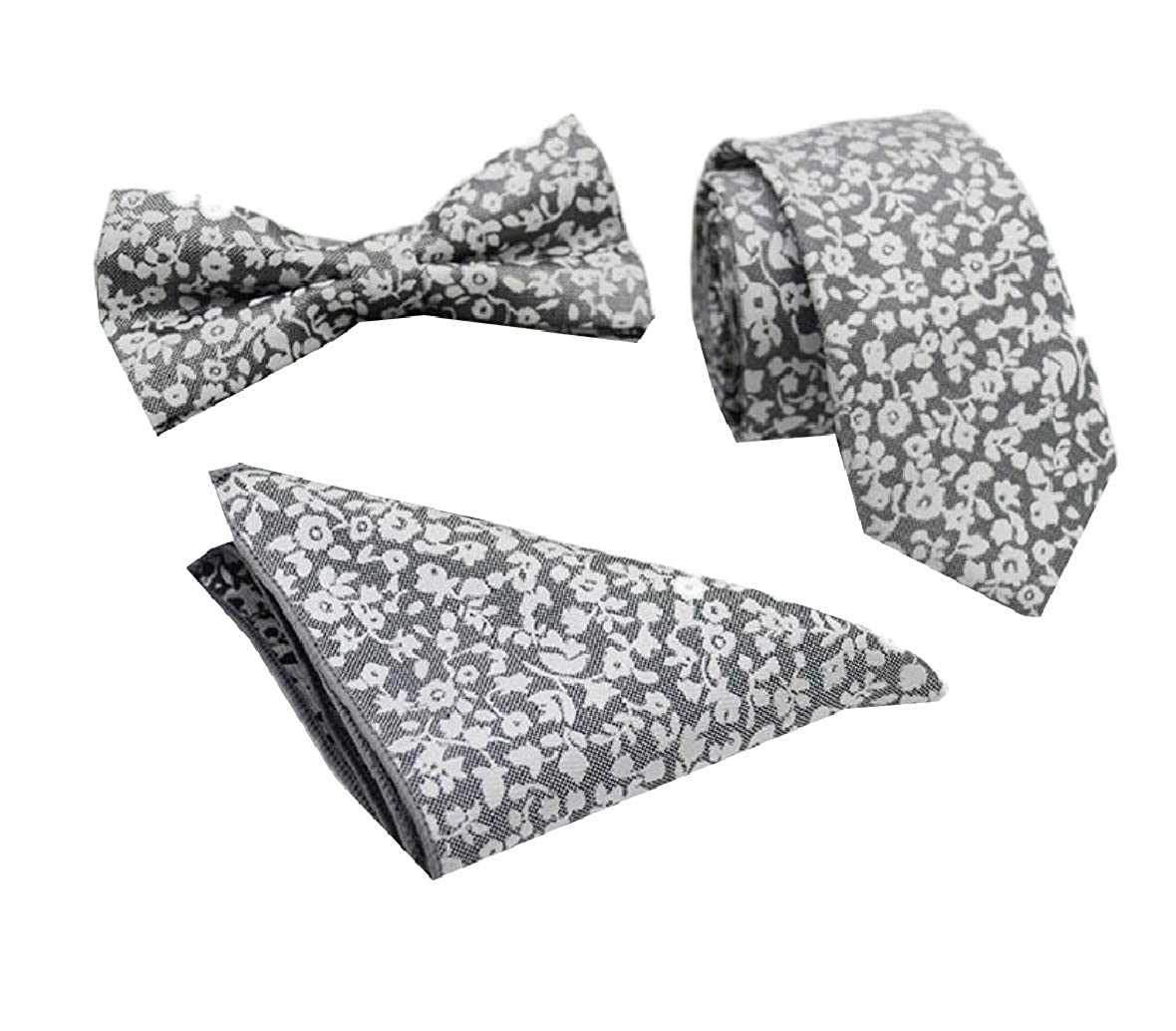 Unastar Mens Bowtie Business 3 Pieces Pocket Square Modern Ties Necktie