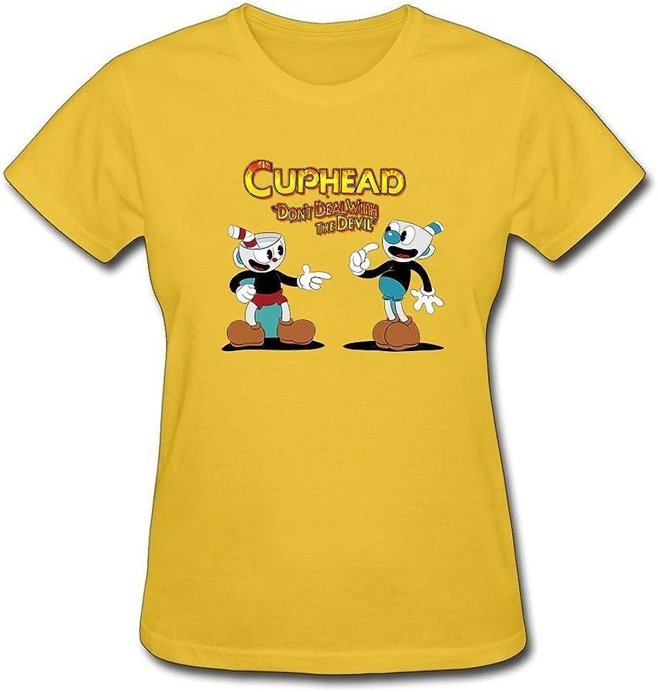 Tee Center T Centro Cuphead no Deal con Diablo T Camisas para Mujer algodón Natural