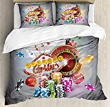 Poker Tournament Decorations King Size Duvet Cover Set by Ambesonne, Welcome to Casino Colorful Chips Cards Dice Roulette Jackpot, Decorative 3 Piece Bedding Set with 2 Pillow Shams, Multicolor