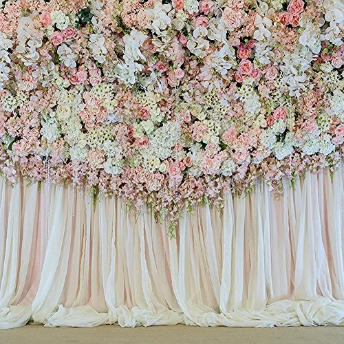 - Flower Curtain Backdrop Decoration Wedding Stage Scene Background Floral Drop Romantic Photography Wall Props for Photo Studio 10x10 ft