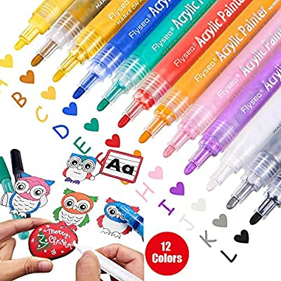 Card Making Photo Album DIY Craft Making Supplies Bouraw Acrylic Paint Pens-12 Colors Acrylic Paint Markers with pencil case for Rocks Painting Canvas Porcelain Ceramic Glass Fabric Wood