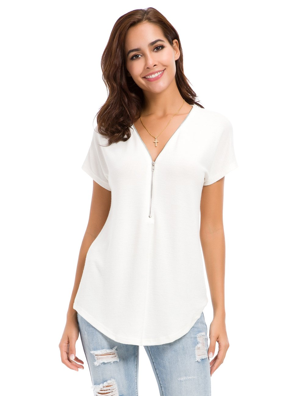 LUSMAY Womens Loose Fitting Zip Up Deep V Neck Short Sleeve Tops Tunic Casual T Shirts Blouse