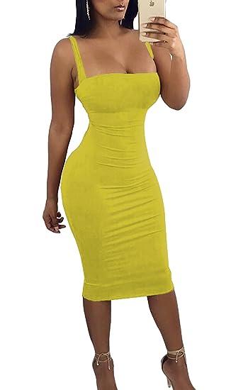 Jinglive Vestido Mujer Sexy Tirantes Backless Vendaje Midi Vestidos Colores Lisos Bodycon Lápiz Vestido de Partido Cóctel Fiesta, Verano Nuevo: Amazon.es: ...