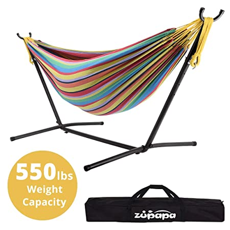 Zupapa Double Hammock with Stand and Carry Bag, Accommodates 2 People, 550 Pound Capacity Portable for Garden, Deck, Yard Indoor Outdoor Use – Spring Vitality
