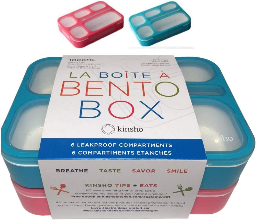 6 Compartment Lunch Boxes. Bento Box Lunchbox Containers for Kids, Boys Girls Adults. BPA-Free School Bentobox Meal Planning Portion Control Container. Leakproof. Set of 2 Blue & Pink Kits