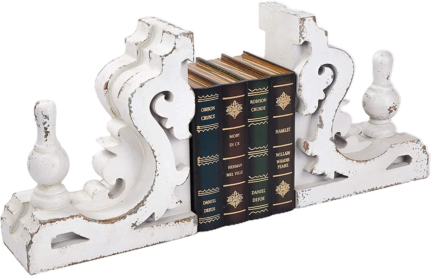 Distressed White Bookends Corbel Wall Shelf, Vintage Decorative Bookends, Bookends for Heavy Books (1 Pair/2 Pieces), Rustic Shelf Brackets, Book Ends for Home Decorative, Farmhouse Look White
