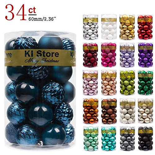 KI Store Christmas Balls Blue Shatterproof Christmas Tree Ball Ornaments Decorations for Xmas Trees Wedding Party Home Decor 2.36-Inch Hooks Included (Blue Ball Ornaments)