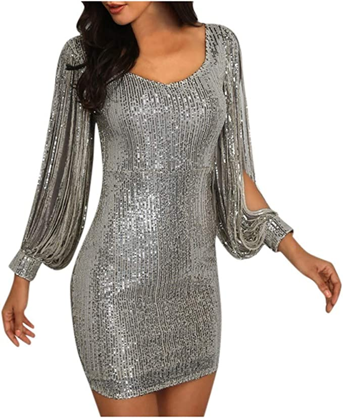 KUDICO damska sukienka z długimi rękawami z dekoltem w kształcie litery V, błyszcząca sukienka na imprezę, elegancka sukienka wieczorowa, sukienka koktajlowa na wesele, sukienka z cekinami: Odzie