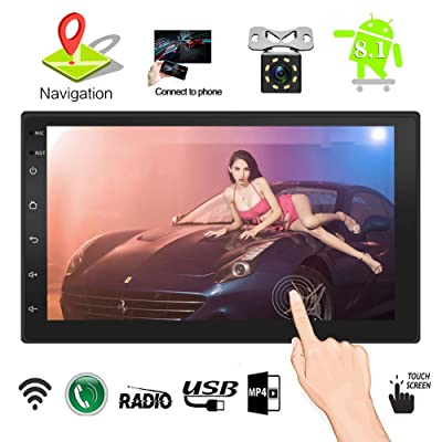 Upgraded 7 Inch Touch Screen Android 7.1 QuadCore CPU Double Din Car Stereo in Dash GPS Navigation Surport BT WiFi Car Radio Audio Vehicle Headunit with Free Rear Camera and Car Tuning Tools: GPS & Navigation