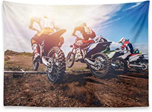 KULUSSY Tapestry Wall Hanging 60x50 Inch Motorcycle Motorsport Mountain Sunset Dirt Motocross Recreation Sports Decorations Tapestry for Bedroom Living Decor