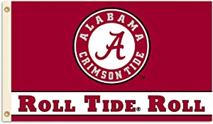 "BSI NCAA College Alabama Crimson Tide ""Roll Tide"" 3 X 5 Foot Flag with Grommets"