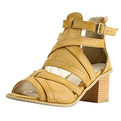 8c7f78d5244 Amazon.com | LOVOZO Women Open Toe Vintage Buckle Strap Heel Peep ...
