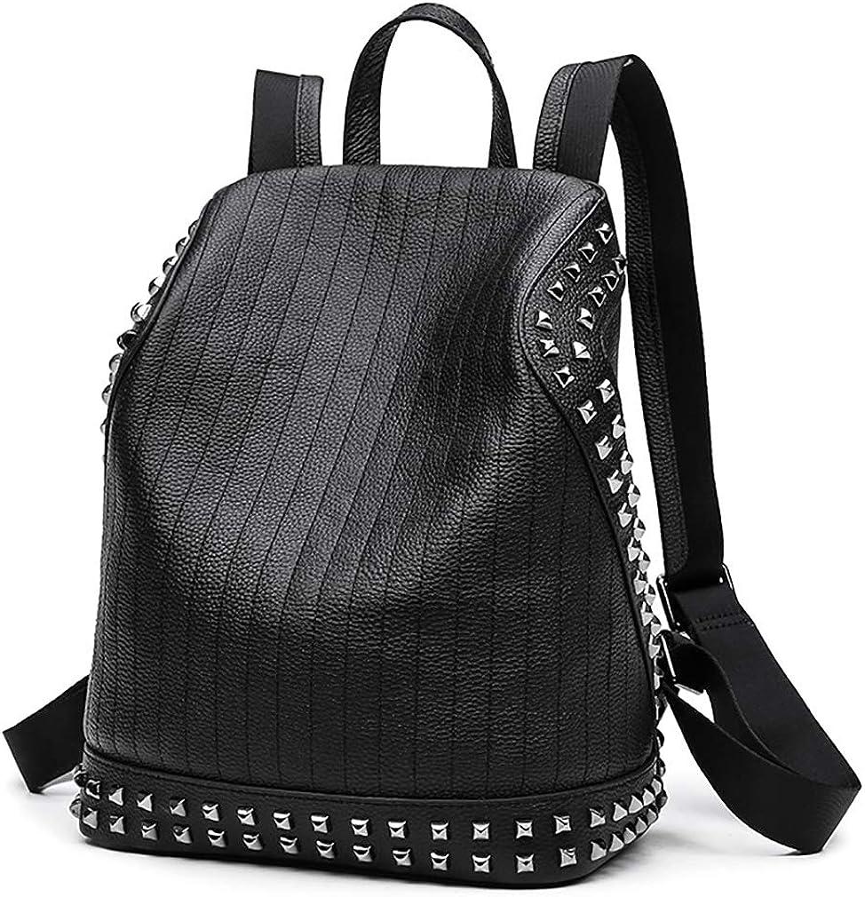 EZOLY Soft PU Leather Women Punk Rivet Backpack Ladies Studded Shoulder Bags Anti-theft Rucksack Black