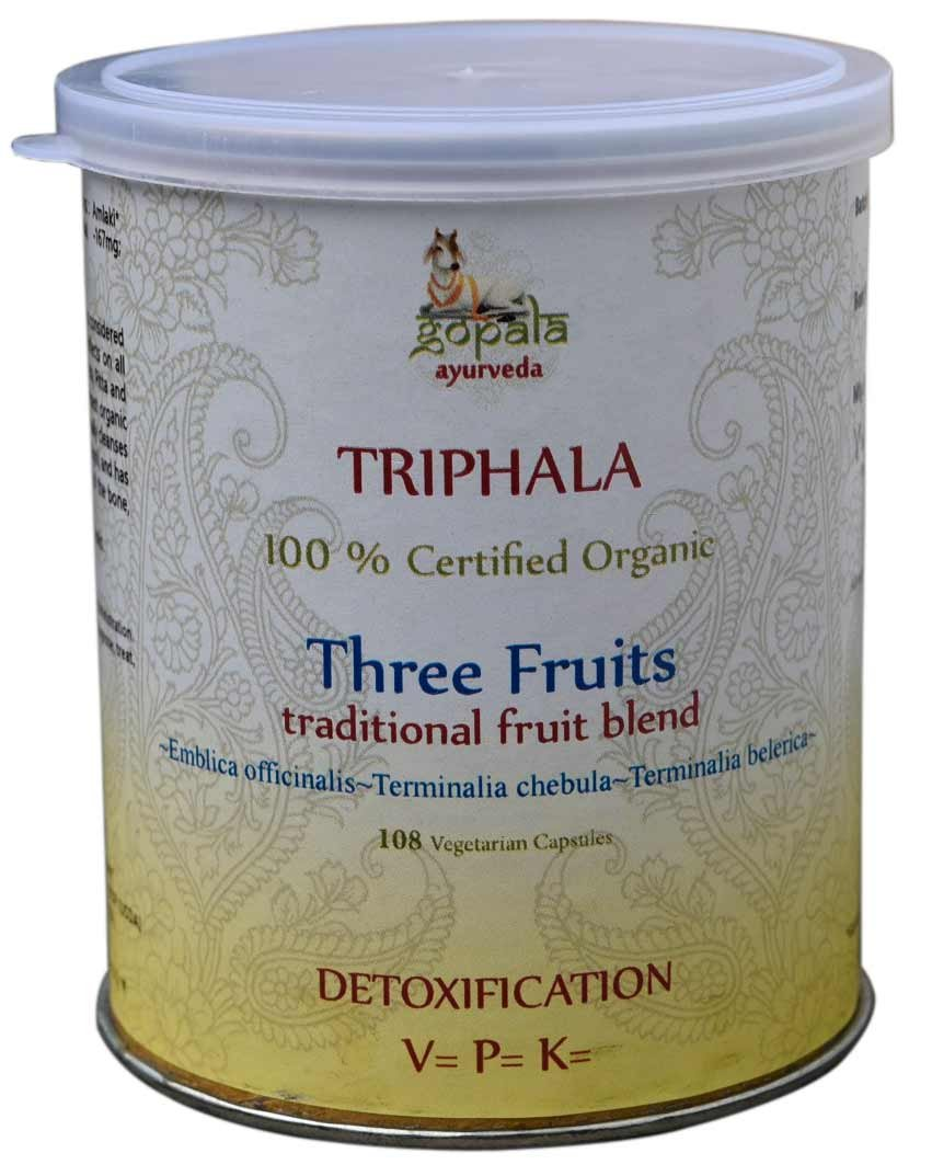 TRIPHALA CAPSULES (USDA CERTIFIED ORGANIC) - 108 Vcaps (Pack of 3) - With Free Gift Samples and Expedited Delivery