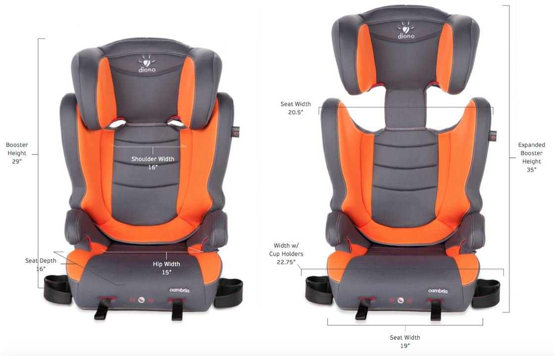 2-in-1 Car Seat Diono Cambria Booster Forward-Facing 40-120 Pounds Graphite High Back and Backless Booster Overprotective in All the Right Ways