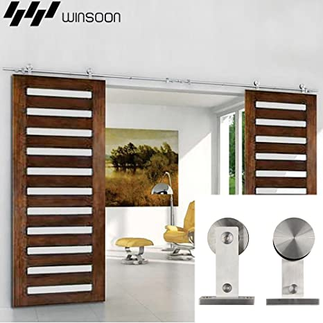3d390eed904 Image Unavailable. Image not available for. Color  WINSOON Room Doors  Hanging Double T Shaped Hanger Sliding Stainless Steel Track Hardware ...