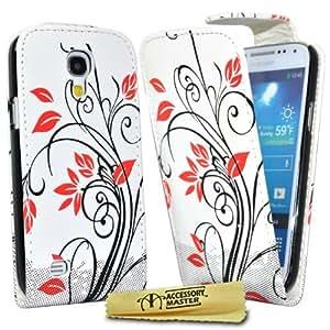 Accessory Master- Blanca Funda de pu Cuero con un Protector de Pantalla para Samsung Galaxy S4 Mini i9190 - Flores Rojas